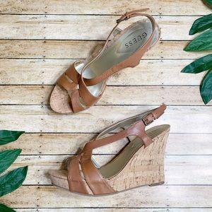 Guess Tarissa Cognac Leather Cork Wedge Sandal 8.5